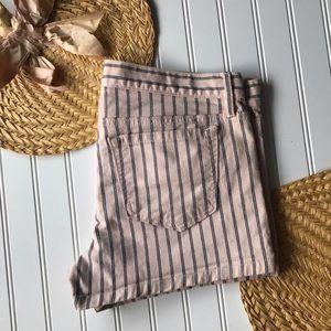 LOFT pink & navy pinstripe jean short